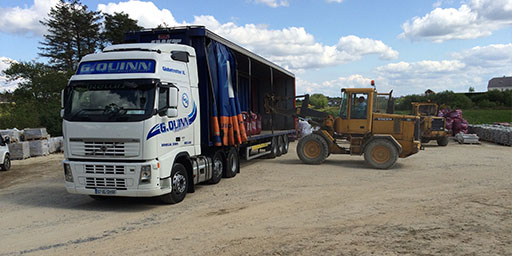 G Quinn international loading a curtainsider